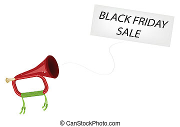 A Musical Bugle Blowing Black Friday Flag - Black Friday, An...