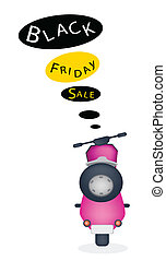 A Motorbike with Black Friday Sale Banner - Black Friday, An...