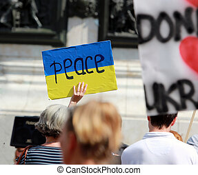 Peace sign on the flag of Ukraine.