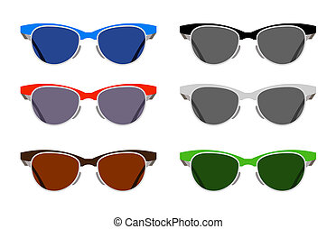 Glasses - Set of glasses on a white background
