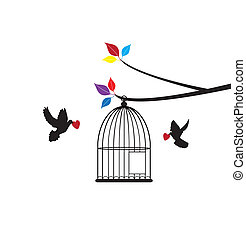 Bird Cage - vector bird cage with doves