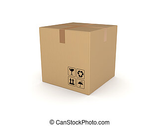3d rendered carton box. - 3d rendered carton box isolated on...