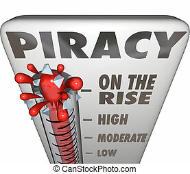 Piracy On the Rise Thermometer Measuring Illegal File...