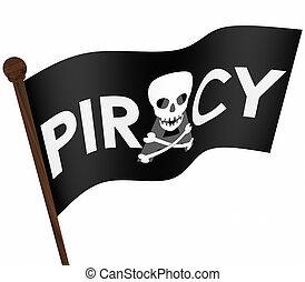 Piracy Flag Illegal Downloading Files Internet Sharing Sites...