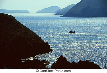 Fishing boat in bay, In the West of Ireland, Dingle Bay