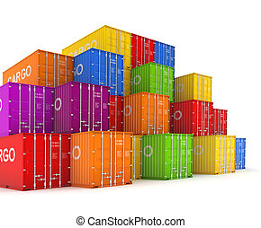 Colorful containers - Set of colorful containers 3d rendered...