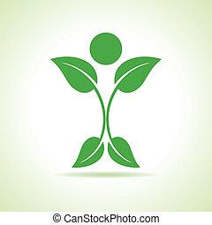 leaf make a person icon