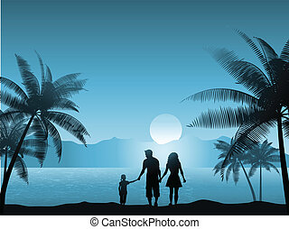 Family on beach - Family walking on the beach at night
