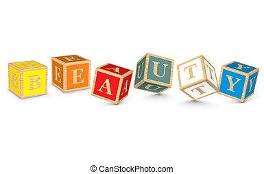 Word BEAUTY written with blocks