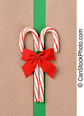 Candy Canes on Wrapped Package