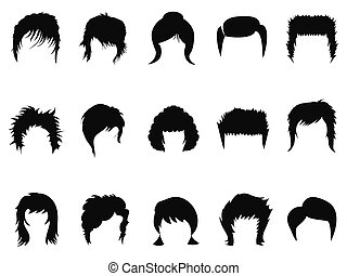 men and women hair styling collecti - isolated men and women...