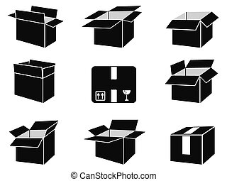 shipping box icons - isolated black shipping box icons from...