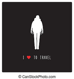 I love to travel4 - Woman backpacker love to travel. Card...