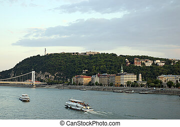 Gellert hill on Danube river Budapest cityscape