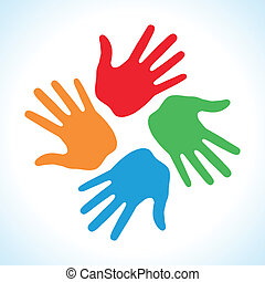 Hand Print icon 4 colors, vector illustration