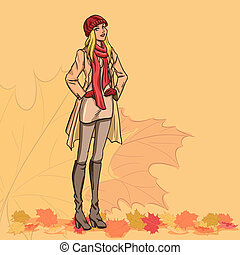 Girl and autumn leaves - Standing slender young beautiful...