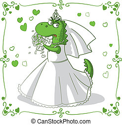 Bridezilla Vector Cartoon - Monster bride eating bouquet...