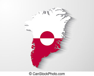 Greenland country map with shadow effect presentation