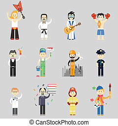Set of vector characters in different professions including...