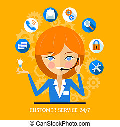 Customer service icon of a call center girl - Customer...
