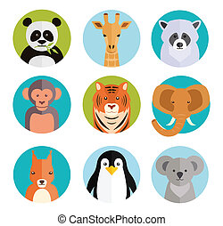 Cute animals in colored round badges - Cute vector cartoon...