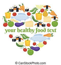 Various foods in heart shape arrangement - Various foods...