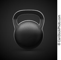 Heavy Kettlebell - Isolated black kettlebell on dark...