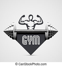 Gym Icon - Gym icon with dumbbell. Illustration contains...
