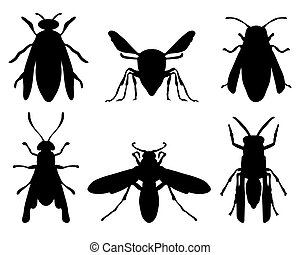 wasps - Black silhouettes of wasps, vector