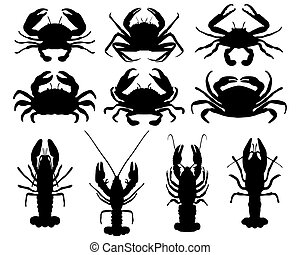 crabs - Black silhouettes of crabs, vector