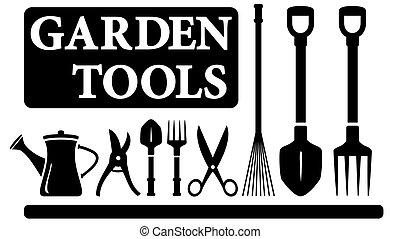 isolated gardening tools - set black isolated gardening...