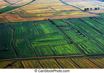 Fields birds view - Cultivated land birds view.