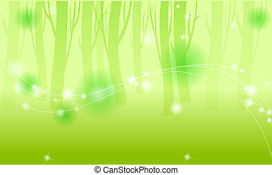 green  Woods with flash spots,like as fairyland