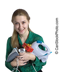 Girl with household appliances and present