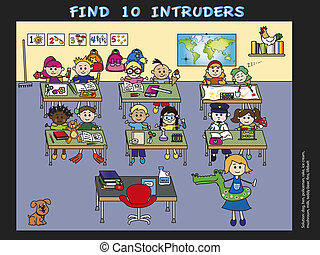game for children: find 10 intruders
