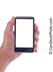 Hand holding generic mobile phone with blank screen - Male...