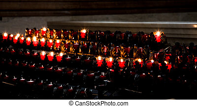 Candles in Catholic Church - Interior of Saint John the...