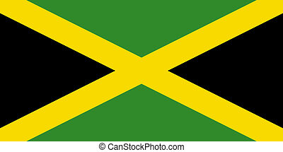 Flag of Jamaica green, yellow, black colours