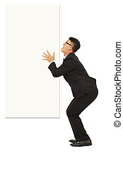 funny young business man holding white board
