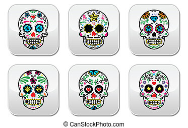 Mexican sugar skull, Dia de los Mue - Vector button set of...