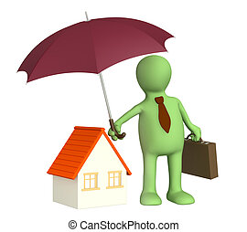 Home insurance - Concept - home insurance Object over white