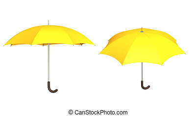 Umbrella of yellow color - object over white