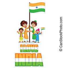 Indian kid hoisting flag of India