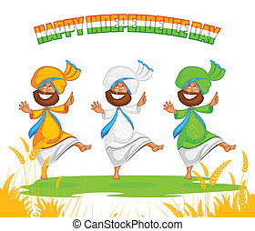 Sikh man doing Bhangra dance in vector