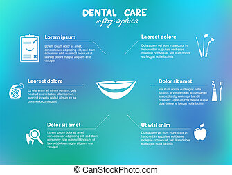 Dental care simple infographics. Dental floss, tooth brush,...