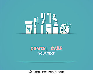 Background with dental care symbols. Tooth brush, tooth...