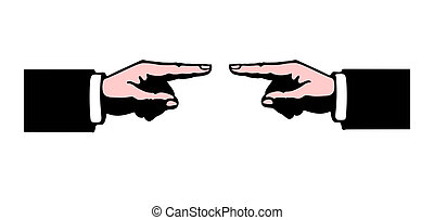 Pointing in opposite directions - Illustration of two...