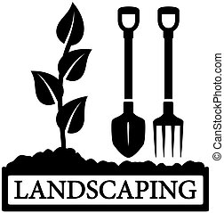 landscaping icon with sprout and gardening tools - black...