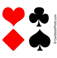 Playing card suits - Set of four playing card suits, hearts,...