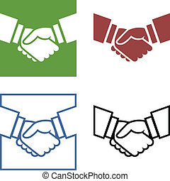 Business handshake set - Set of four handshake icons in...
